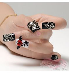 Black Nail Tips with Large 3d Spider Nail Art and 3d Bat with Red Broken Heart
