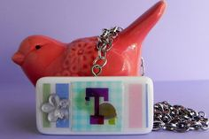 Domino Initial Necklace with Hologramm & Angel Charm, let me personalize one for you! ScatterCreations, $10.99