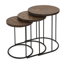 IMAX Hoki Coco Shell Tables - Set of 3 - This set of three unique nesting tables feature a tribal influenced pattern made from natural coconut shells and adds a natural appeal to any area. IMAX exclusives!