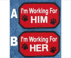 I'm Working For Him Her Service Dog Patch Size 2.5x4 inch Danny & LuAnns Embroidery