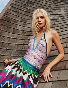 Aline Weber models Missoni swimsuit, Salvatore Ferragamo skirt and Shashi bracelet