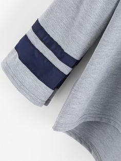 Varsity Print Drop Shoulder Marled Hoodie -SheIn(Sheinside)
