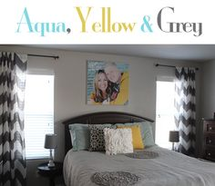 Aqua Lane Design ~ {Color Combination} Aqua, Yellow & Grey.  Love the chevron curtains and the picture above the bed! aqualanedesign.com