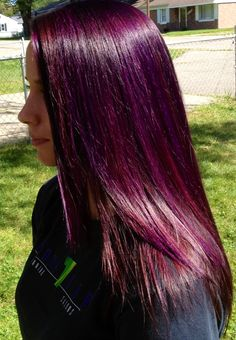 red and violet highlights | Purple highlights w/ a red purple base | Hair. i want this color