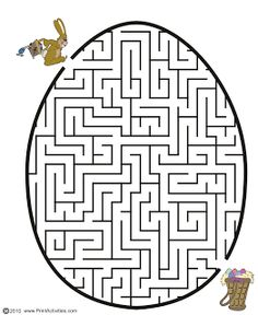 Grab this printable Easter maze along with 30 other Easter coloring pages! Let your kids be excited by the creative games and cut outs. Printable Mazes, Printable Coloring Sheets, Easter Egg Coloring Pages, Coloring Pages For Kids, Kids Activity Center, Maze Worksheet, Worksheets, Dots Free, Easter Egg Designs