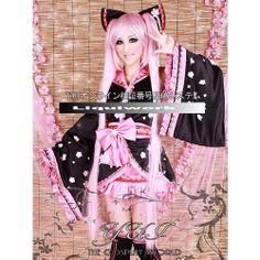 Black Pink Japanese Gothic Lolita Kimono Corset Cosplay Dresses Costumes SKU-131234