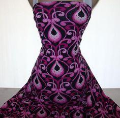 1 yd Lycra 4W Stretch Pink Sequined Scroll Motif Drop Print New | eBay