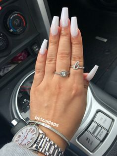 soft white coffin nail #acrylic #coffinshape