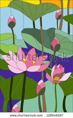 Stained Glass Lotus Mother's Day Birthday by nwpitneyink on Etsy Glass Painting Designs, Paint Designs, Faux Stained Glass, Stained Glass Patterns, Art Drawings For Kids, Guache, Plant Art, Wooden Wall Art, Painting Patterns