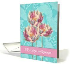 Happy Birthday in Polish, Wszystkiego najlepszego, Water Lilies card