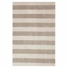 Hand-loomed wool and art silk rug with a stripe motif.  Product: RugConstruction Material: Wool and art silkColor: Gray and ivoryFeatures:  Plush pileHand-wovenLustrous finish  Note: Please be aware that actual colors may vary from those shown on your screen. Accent rugs may also not show the entire pattern that the corresponding area rugs have.Cleaning and Care: Vacuuming regularly. Professional cleaning recommended.