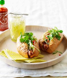 Pork hot dogs with pickled green papaya