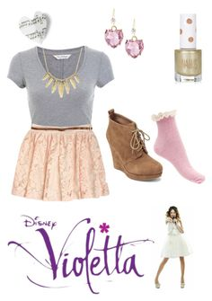 A fashion look from May 2015 featuring tee-shirt, lace skirts and pink socks. Browse and shop related looks. Unique Outfits, Cute Casual Outfits, Chic Outfits, Fashion Outfits, Fashion Trends, Violetta Outfits, Violetta Disney, Teen Girl Fashion, Cute Fashion