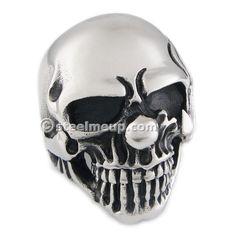 Stainless Steel Polish Crying Clown Men Biker Ring