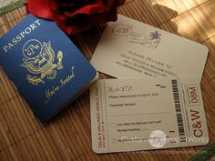 "travel themed invite set - see site for cute ""fun facts"" on the passport's biodata page."