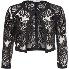 01ad7cad Gina Bacconi Baroque Sequin Mesh Jacket, Black ($220) ❤ liked on Polyvore  featuring outerwear, jackets, mesh jacket, cropped jacket, sequin crop  jacket, ...