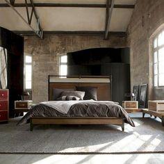 Industrial Industrial Interior Design, Industrial Interiors, Industrial Bedroom, Men Apartment, Apartment Living, Apartment Ideas, Living Room, Teenager Cool, Masculine Interior