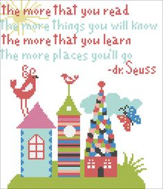 "BOGO FREE!  Dr. Seuss quote - ""The places you'll go!""- cross stitch pdf Pattern - pdf pattern instant download  #139 by Rainbowstitchcross on Etsy"