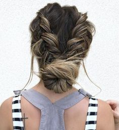 Low Bun With Two Braids Updo