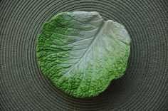 Sandcast cement dish created from a real leaf. Handpainted for use in home.