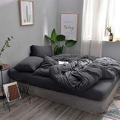 Room Ideas Bedroom, Home Bedroom, Small Bed Room Ideas, Bedroom Apartment, Duvet Cover Sets, Comforter Cover, Gray Comforter, Gray Duvet Covers, Gray Bedspread