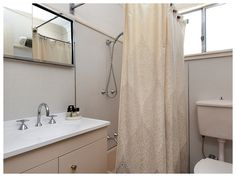 Retro Sands Beach House - upstairs bathroom Upstairs Bathrooms, Sands, Beach House, Bathtub, Australia, Curtains, Shower, Retro, Beach Homes