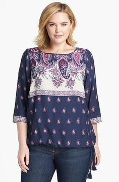 Lucky Brand 'Larache' Mixed Print Blouson Top (Plus Size) available at #Nordstrom