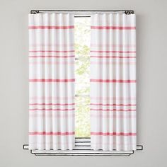 The Land of Nod | Kids Curtains: Pink Striped Curtain Panels in All New