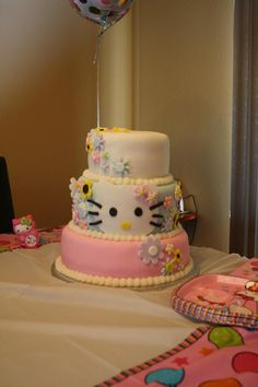 This a is Hello Kitty cake we made for a 5 year old birthday party