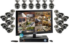 Security camera system with 16 outdoor security cameras and monitor Security Camera System, Security Surveillance, Surveillance System, Security Cams, Outdoor Camera, Monitor, Coupons, Places, Shopping