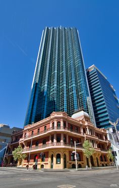 Bankwest Tower  The Bankwest Tower stands behind the old Palace Hotel in Perth, Western Australia...