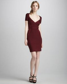 ShopStyle: Herve Leger Short-Sleeve Bandage Dress