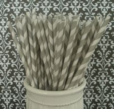 30 Grey Stripe Paper Staws - $4.75 @Brittany Muddamalle