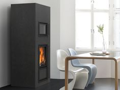 Mustio heat-retaining fireplace with a stew bakeoven, which can be placed on both sides of the fireplace. The full-sized and full-bodied tiles are of high-quality. Read more at www. Cladding, Tiles, Contemporary, House, Fireplaces, Stew, Design, Decor Ideas, Home Decor