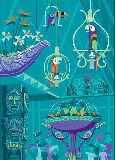 great graphics ! The Enchanted Tiki Room,Disneyland.
