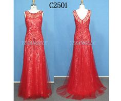 Sexy Beading Red Long Lace Up Organza Evening Dress, Prom dress