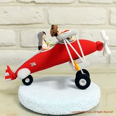 Red biplane airplane custom wedding cake topper decoration