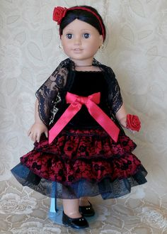 American Girl, 18 inch doll clothes: Josefina's fancy skirt and top with lace shawl and a rose for her hair
