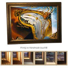 Colectie Tablouri handmade (pictate partial), reproduceri ale unor tablouri celebre Dali. Comanda pe www.printly.ro tablouri canvas, inramate cu rama din lemn, sau tablouri pictate. Dali, Canvas, Painting, Tela, Painting Art, Canvases, Paintings, Painted Canvas, Drawings