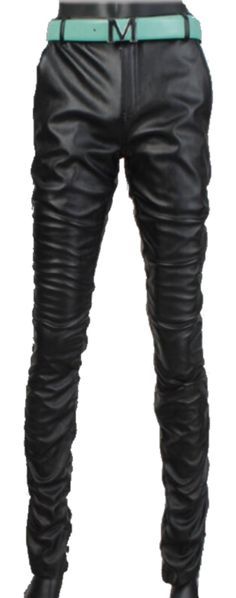 JIAX Men's Punk Rock Feet Skinny Motorcycle Tapered Slim Fit PU Leather Pants (W33, Black) -- Awesome products selected by Anna Churchill