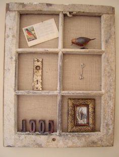 Love this creative wall display idea using a vintage window.