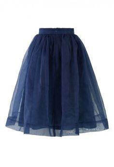 romantic blue organza midi skirt. dress it up. dress it down.