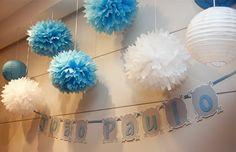 Um lindo chá de bebê em azul e branco com o tema elefante! Veja as fotos e inspire-se!