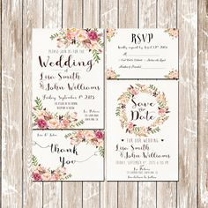 Wedding Invitation Pink Floral rustic watercolor Set/Suite Wedding invitation Save the date RSVP Thank You Cards Printable digital files