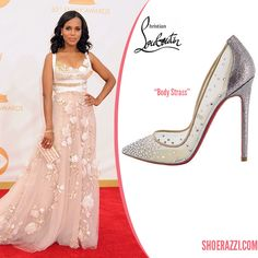 Kerry Washington in Christian Louboutin Body Strass Mini Glitter Pumps - ShoeRazzi