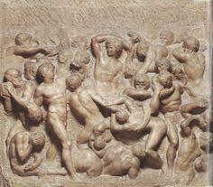 Battle of the Lapiths and the Centaurs / 1492 / Michelangelo / marble / Casa Buonarroti, FLR Renaissance Artworks, Renaissance Kunst, Renaissance Artists, Michelangelo Sculpture, Sculpture Art, Sculptures, Sistine Chapel Ceiling, Italian Renaissance, Centaur