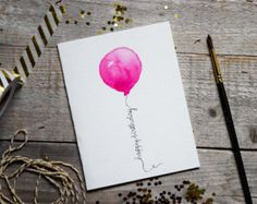 Birthday Card Watercolor Card Pink Balloon by PrintSmitten on Etsy