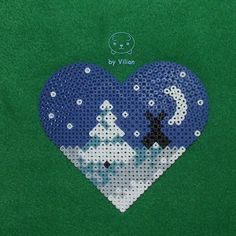 Heart-shaped winter view Hama bead ornament by VilDeviant