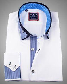 Luxury shirts | Unique reverse collar shirt for men - Miami White