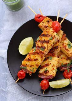 Achari Paneer Tikka - Skewered Indian Cheese with Pickling Spices